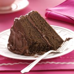 Devil's Food Cake with Chocolate Fudge Frosting-The made-from-scratch chocolate layer cake topped with a fudgy homemade frosting is truly a can't-miss dessert.