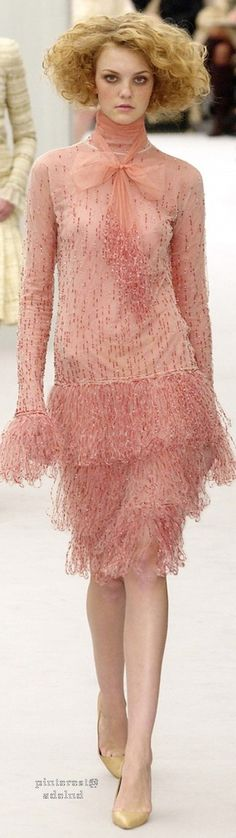 Blush pout, cheeks, & dress w/ raindrop sequins/beads; strawblonde stormcloud coiffure~ Chanel Spring 2004 Couture