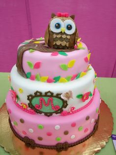 This is a vanilla cake with strawberry mousse.  The decorations are all edible, the owl is rice krispies covered in fondant.