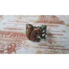 Squirrel Ring, Squirrel Jewelry, Animal Ring, Antiqued Copper... ($15) ❤ liked on Polyvore