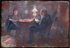 Eilif Peterssen   Edvard Munch, «Ved parafinlampen»