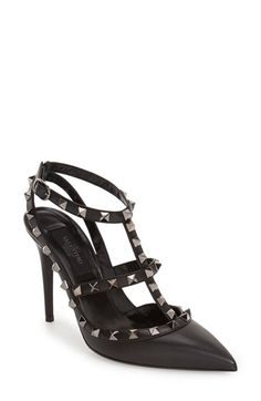 Valentino Noir Rockstud T-Strap Pump (Women) at Nordstrom.com. Signature studs glint on the caged straps of an Italian pointy-toe pump crafted in supple leather and set on a slim heel.
