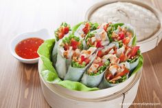 Thai salad rolls made with janes cooked carved meal makers chicken