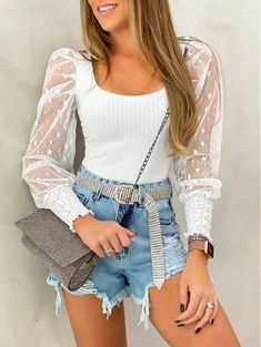 Cute Casual Outfits, Short Outfits, Spring Outfits, Look Fashion, Fashion Outfits, Womens Fashion, Fashion Design, Moda Instagram, Blouse Styles