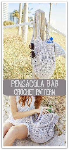 Crochet this stylish pensacola bag perfect to carry all your needs this summer. This was made with Lion Brand rewind yarn. Free pattern download #ad #affiliate #crochet #pattern