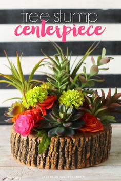 DIY Home Decor | Tree stump centerpiece made with make it fun crafts