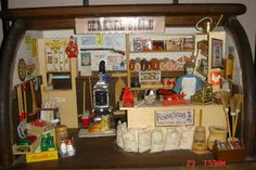Miniature General Store made from a bread box fantastic idea