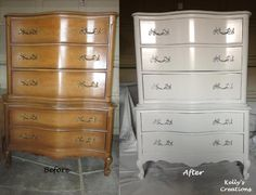 French Provincial dresser painted in swan white with silver drawer handles.  Refinished by Kelly's Creations.  https://www.facebook.com/pages/Kellys-Creations-Refinished-Furniture/524028237619793