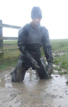 Uploaded from Yahoo! Mudding Girls, Rubber Catsuit, Latex Men, Country Wear, Hot Cowboys, Female Dragon, Farm Boys, Heavy Rubber, Getting Wet