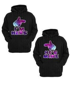78ab34941e I'm Hers He's Mine Purple Galaxy Pattern Unisex Couple Hoodie - Matching  Hoodies For Couples