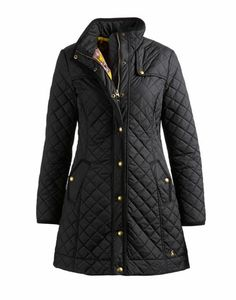 Joules Womens Quilted Coat, Black.                     This classic longer length country coat goes further to keep you warmer. In a new streamline shape for the new season and with signature detail that could only be found at Joules. We've added an overlaid shoulder panel and bespoke details such as the lining in a hand-drawn print.