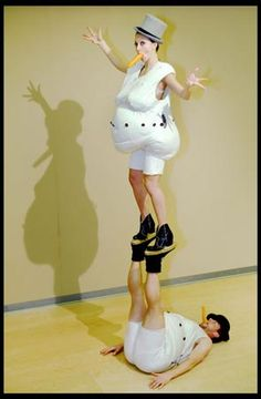 Jasmin Vardimon, choreographer: 'I grew up in Israel, so I didn't get to see snow until I was almost an adult. Like a Russian Babushka figure, a snowman almost never has legs. I decided to create a snow-woman, and to give her very long legs. I only kept the snowman's colour and his traditional nose. I planned to cover her in flour, but then I found this costume in the National Theatre studio, and used that instead' Jasmin Vardimon