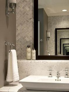 Shelf under mirror? Stone Mosaic tile gray herringbone tile - https://www.pebbletileshop.com/products/Light-Grey-Herringbone-Stone-Mosaic-Tile.html#.VTgCmCFViko