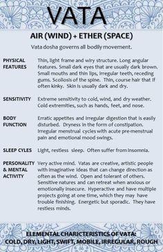 Vata Dosha Characteristics 1 (I'm mostly Pitta, but at times Vata fits)