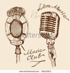 stock vector : microphone doodles
