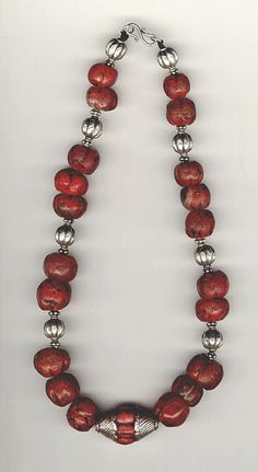 Antique Carnelian and silver beaded necklace from Tibet. | Dates from the mid to late 19th century and came from Tibet.