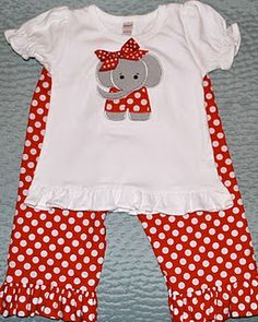 Good blog for little kids clothes.  Lots of appliqué shirt/matching pants