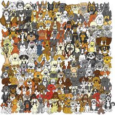 """""""Find the Panda"""" Dog Edition  So we have gotten swept up in the PANDAemonium that has taken over the internet with all of the """"Find the Panda"""" challenges. So we created a """"Hidden Panda"""" illustration of our own.  A panda is hanging out with the dogs. Can you find the Panda? Post your time below.  Enjoy!   Happy New Year from Angry Squirrel Studio. www.angrysquirrelstudio.com  #findthepanda #panda #hiddenpanda"""