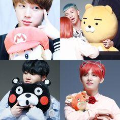 So we got Jin and Mario, Rapmonster and Ryan, Suga and Kumamon, and then V and Nick. gosh I love BTS XD