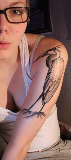 My first tattoo, great blue heron~ Made in Custom X (Lahti Finland), by Juha. It became prettier than I thought ♥ I'm more than satisfied.