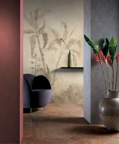 Handpainted wallpaper. Shadows collection.