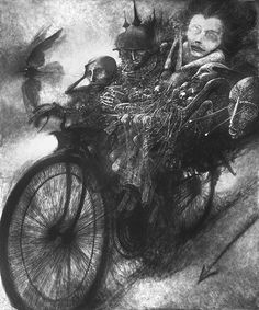 """Zdzisław Beksiński """"I found some old black-and-White Reproduction of an image that I remember was black and Brown-Yellow."""""""