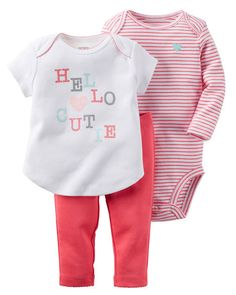 Baby Girl 3-Piece Babysoft Bodysuit & Pant Set from Carters.com. Shop clothing & accessories from a trusted name in kids, toddlers, and baby clothes.