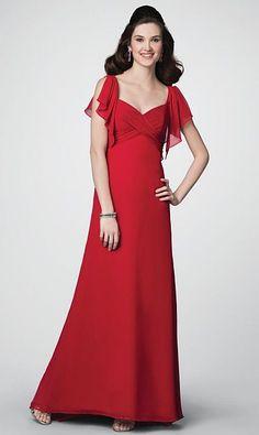Alfred Angelo Long Chiffon Bridesmaid Dress with Draped Sleeves 7193 at frenchnovelty.com