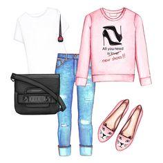 Printed sweatshirt, boy-friend jeans, black bag, flats
