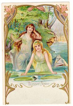 Postcard German Art Nouveau Water Nymphs Jugendstil