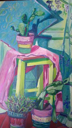 Cactus y tela fucsia