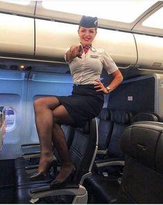 (notitle) - Flight Aviation - Women in Uniform British Airways Cabin Crew, Airline Humor, Flight Girls, Nylons, Airline Uniforms, Girls Life, Flight Attendant, Black Tights, Sexy Legs