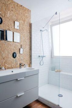 OSB pannel in Bathroom Bad Inspiration, Bathroom Inspiration, Home Decor Inspiration, Small Bathroom, Master Bathroom, Osb Wood, Oriented Strand Board, Amazing Bathrooms, Interiores Design