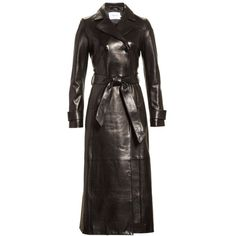 Women's Frame Leather Trench Coat ($2,495) ❤ liked on Polyvore featuring outerwear, coats, noir, double-breasted trench coat, belted coats, leather trench coat, double breasted leather coat and trench coats