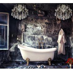 A spooky bathroom made elegant.