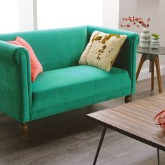 Brighten your seating arrangement with our Emerald Marian Loveseat. With rolled shelter arms and sumptuous bright green velvet upholstery, it& a fresh take on a cozy classic. Green Rooms, Velvet Loveseat, Pretty Decor, Green Sofa, Furniture, Love Seat, Home Decor Colors, Green Room Decor, Green Furniture