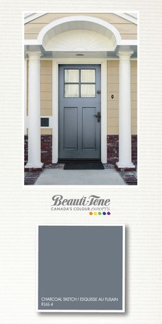 Treat your front door as a canvas! Painted a dark sophisticated grey turns it into a work of art. Yellow House Exterior, Exterior Paint Colors For House, Exterior Colors, House Colors, Door Paint Colors, Front Door Colors, Dark Grey Front Door, Outside House Paint, Farmhouse Paint Colors