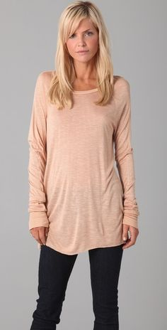 I want to live and lounge in this comfortable peach tee.