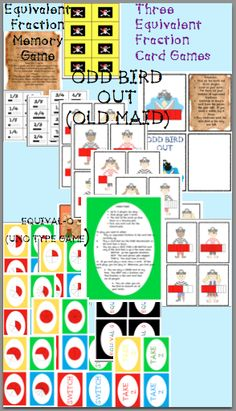 Included in this game pack are 3 familiar card games to help your student practice equivalent fractions. 1. A memory matching game 2. Odd Bird ..