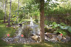 Coin de nature en banlieue | Les idées de ma maison © TVA Publications | Photo: Yves Lefebvre #deco #exterieur #vegetaux #arbres #fleurs #plandeau #plantes #fontaine