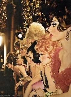 Check out the do's and the eye makeup on these 60's Vegas showgirls