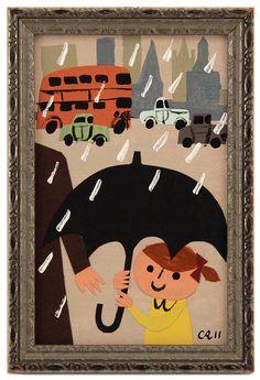 London Rain, Christian Robinson $150 Children's Book Illustration, Graphic Design Illustration, Book Illustrations, London Rain, Christian Robinson, Poster Pictures, Mural Art, Collage Art, Illustrators
