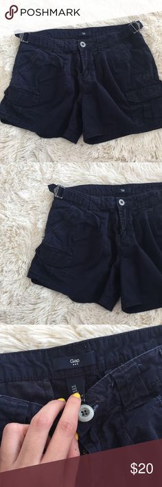 GAP navy cargo shorts These are a women's cargo short but super cute! Pockets and buckles making there adorable. Size 2 GAP Shorts