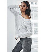 Gray Open Back Shaker Knit Sweater | Express