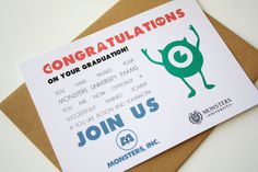 Graduation card Monsters Inc Card - Congratulations on your graduation de la boutique MySweetPaperCard sur Etsy