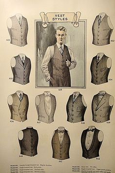 Plate from 1927 J.L. Taylor men's fashion catalogue. Fabulous selection of tailored vests for any style combination. Double Breasted style for Weisskopf.