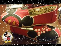 Mickey and Minnie Mouse hand painted shoes by sassysisters78