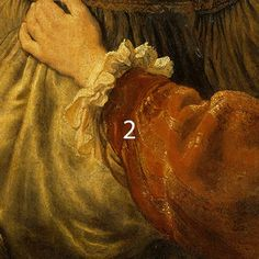 Rembrandt, Self-Portrait with Saskia, ca 1635. Red sleeve of Rembrandt painted in madder lake, red ochre with small amounts of lead-tin-yellow.
