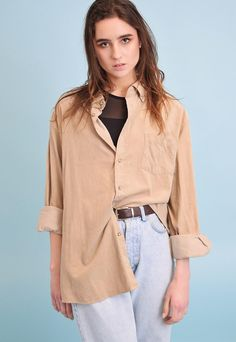 Cool vintage 90's retro corduroy beige neutral oversized Boyfriend shirt top. Buttons down, pocket on bust, long sleeves. Great condition. ONE SIZE FITS ALL. The shirt could fit UK 8-12. The model size is UK 8. Delicate wash. Browse our full collection for other matching items.