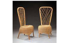 JEAN ROYERE (1902-1981) Paire de chaises hautes en rotin tressé. Vers 1950-1952. H: 104 cm l: 47 cm P: 45 cm